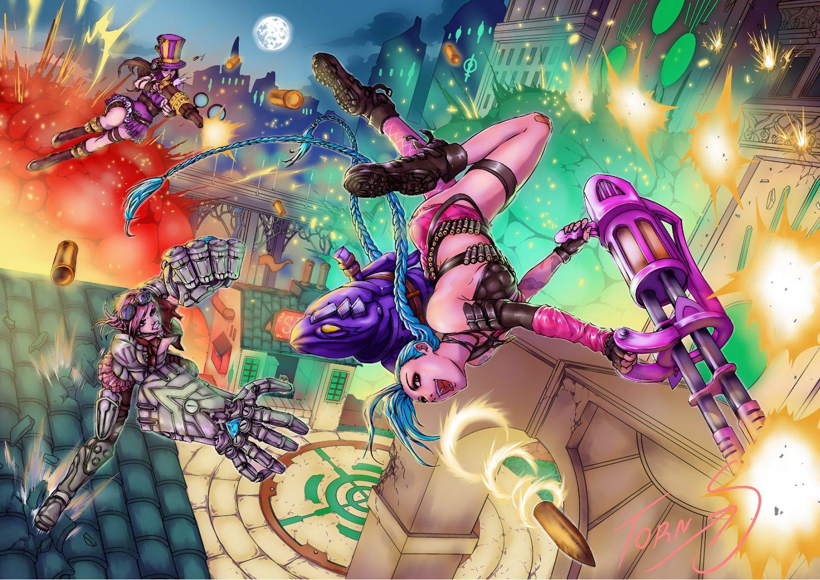 Vi & Caitlyn Vs Jinx by Torn_S HD Wallpaper Fan Art Artwork League of Legends lol HD Wallpaper Fan Art Artwork League of Legends lol