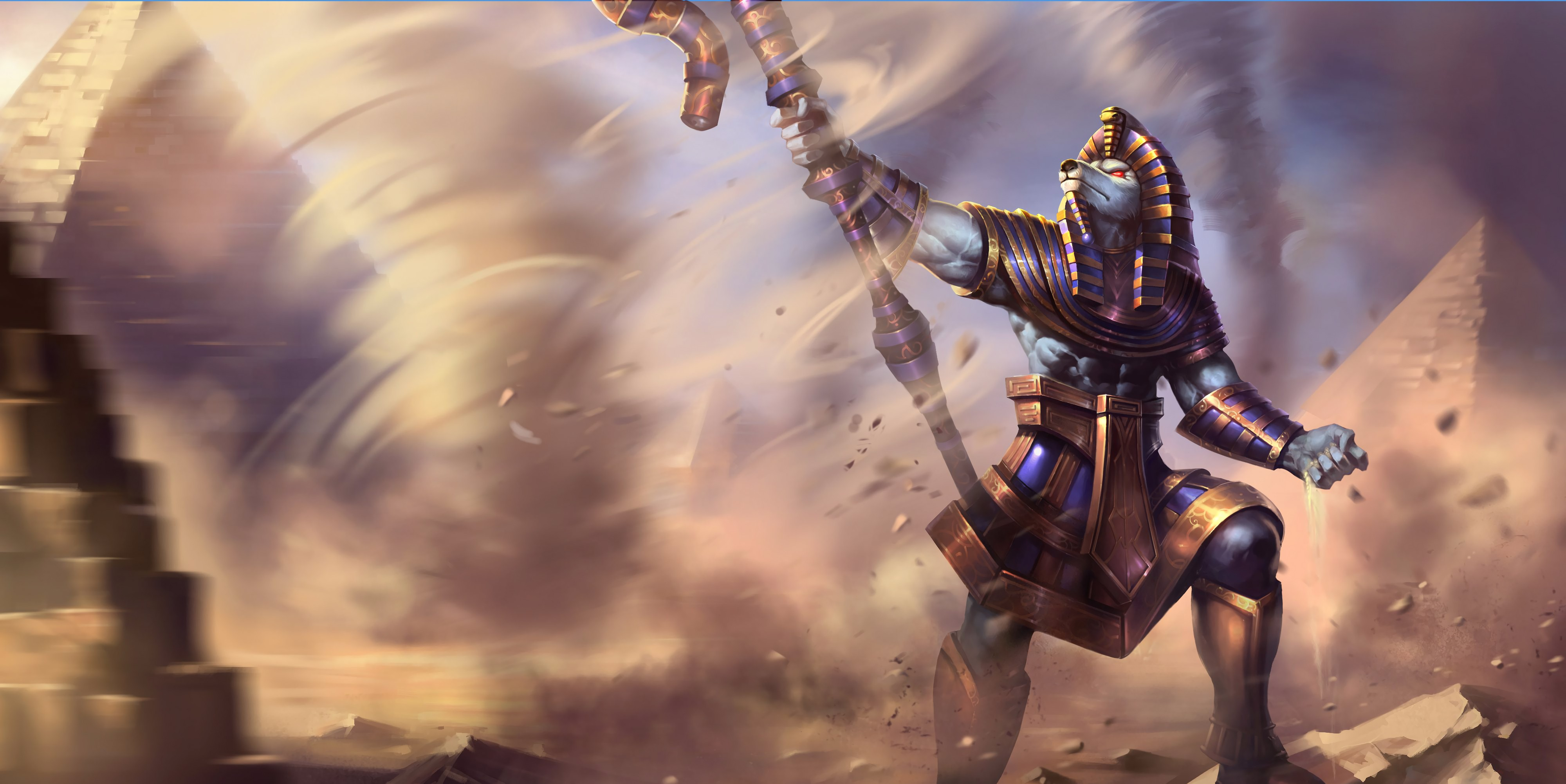 Pharaoh Nasus Splash Art HD 4k Wallpaper Background Official Art Artwork League of Legends lol