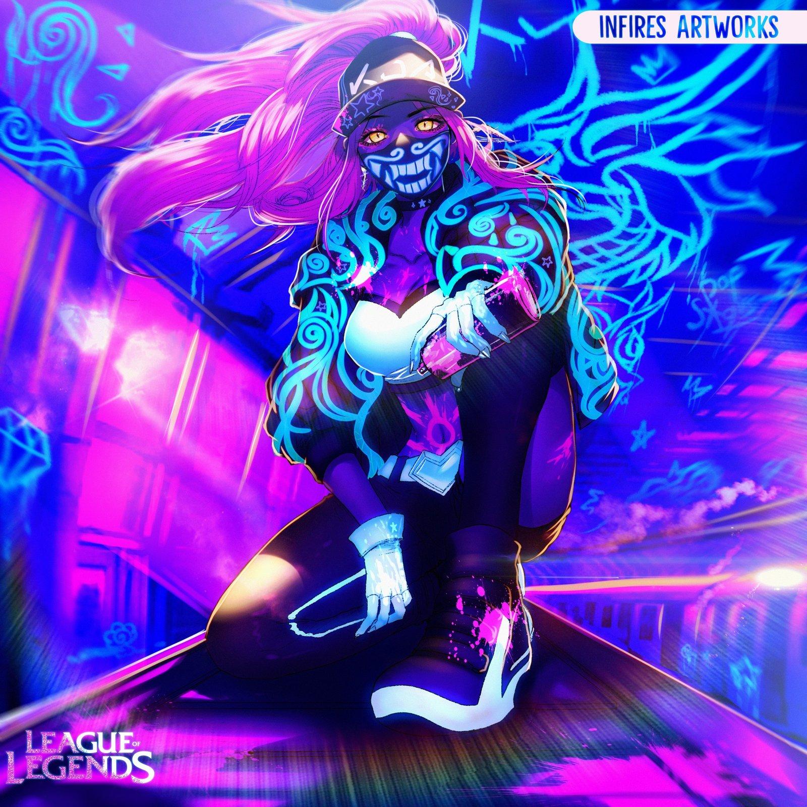 K/DA Akali by Iku-Aldena HD Wallpaper Background Fan Art Artwork League of Legends lol